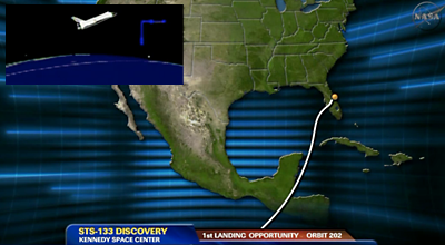 Shuttle Discovery's projected route of approach to Kennedy Space Centre. NASA, 2011.