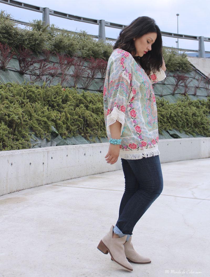 moda mujer blusa kimono