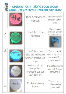 Bottle Cap Center Games label your Cap ideas Clever Classroom