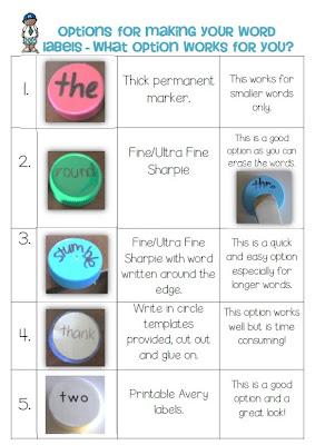 Bottle Cap Center Games label your Cap ideas Clever Classroom