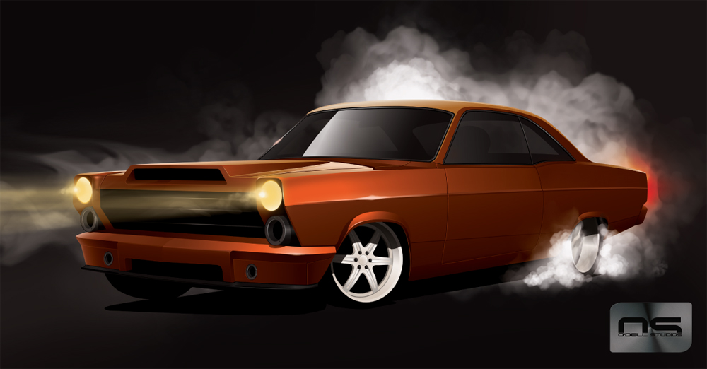 digital renderings for custom hotrod muscle car design