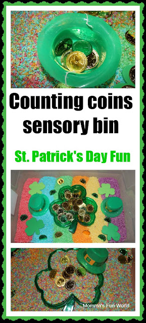 St. Patrick's Day Counting Coins Sensory Bin. Click for more colorful #stpatrick sensory bins