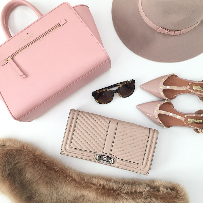 faux fur stole, Halogen studded flats, Kate Spade pink purse, Luxe panama hat, Nordstrom anniversary sale, Rebecca Minkoff chevron quilted clutch, Tory Burch cat eye tortoise sunglasses