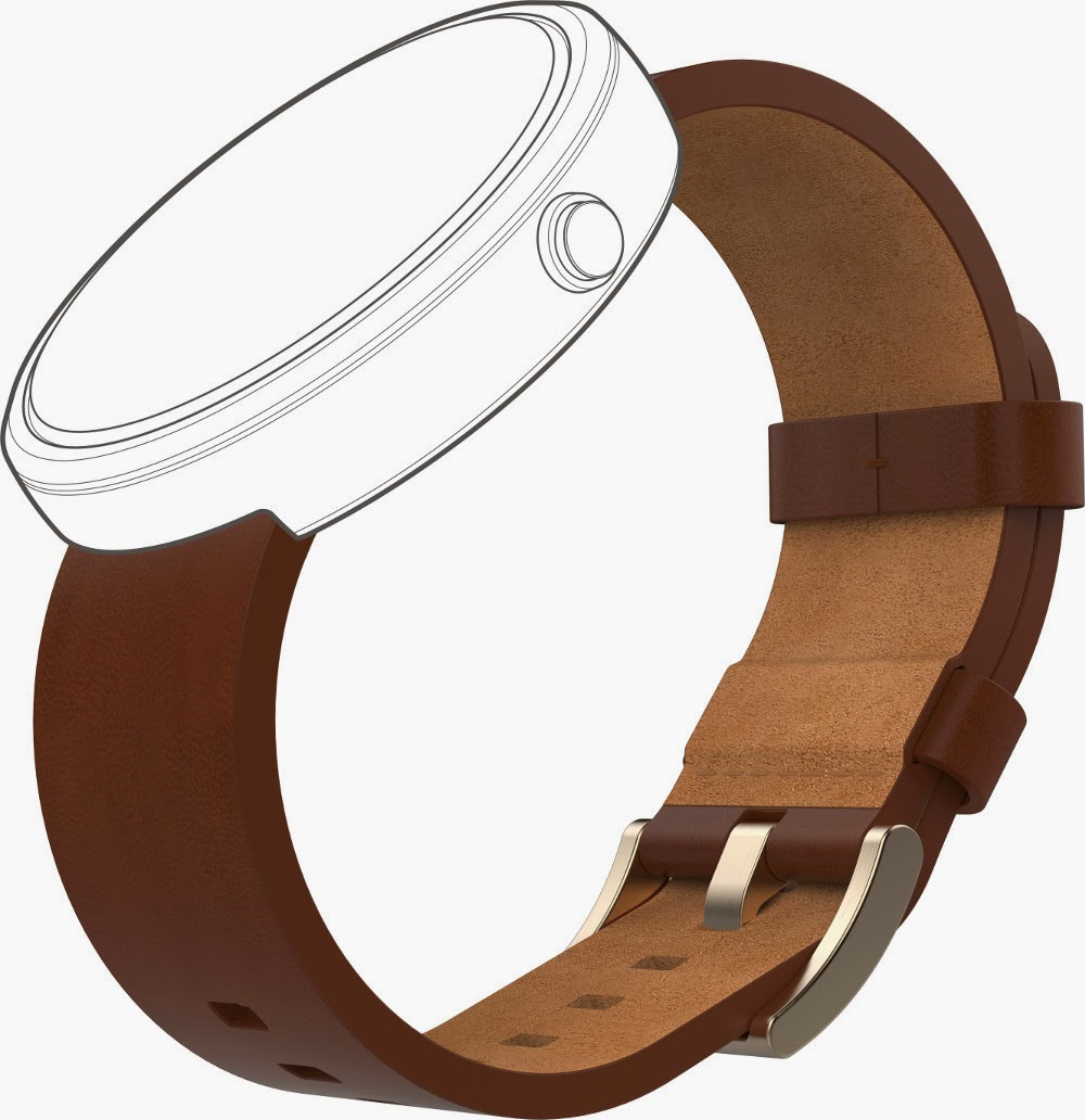 Motorola Moto 360 Metal - Cognac-Leather