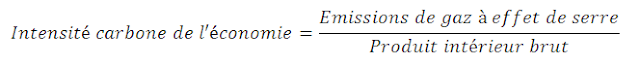 formule pour calculer l'intensité carbone à partir du pib et des émissions de gaz à effet de serre