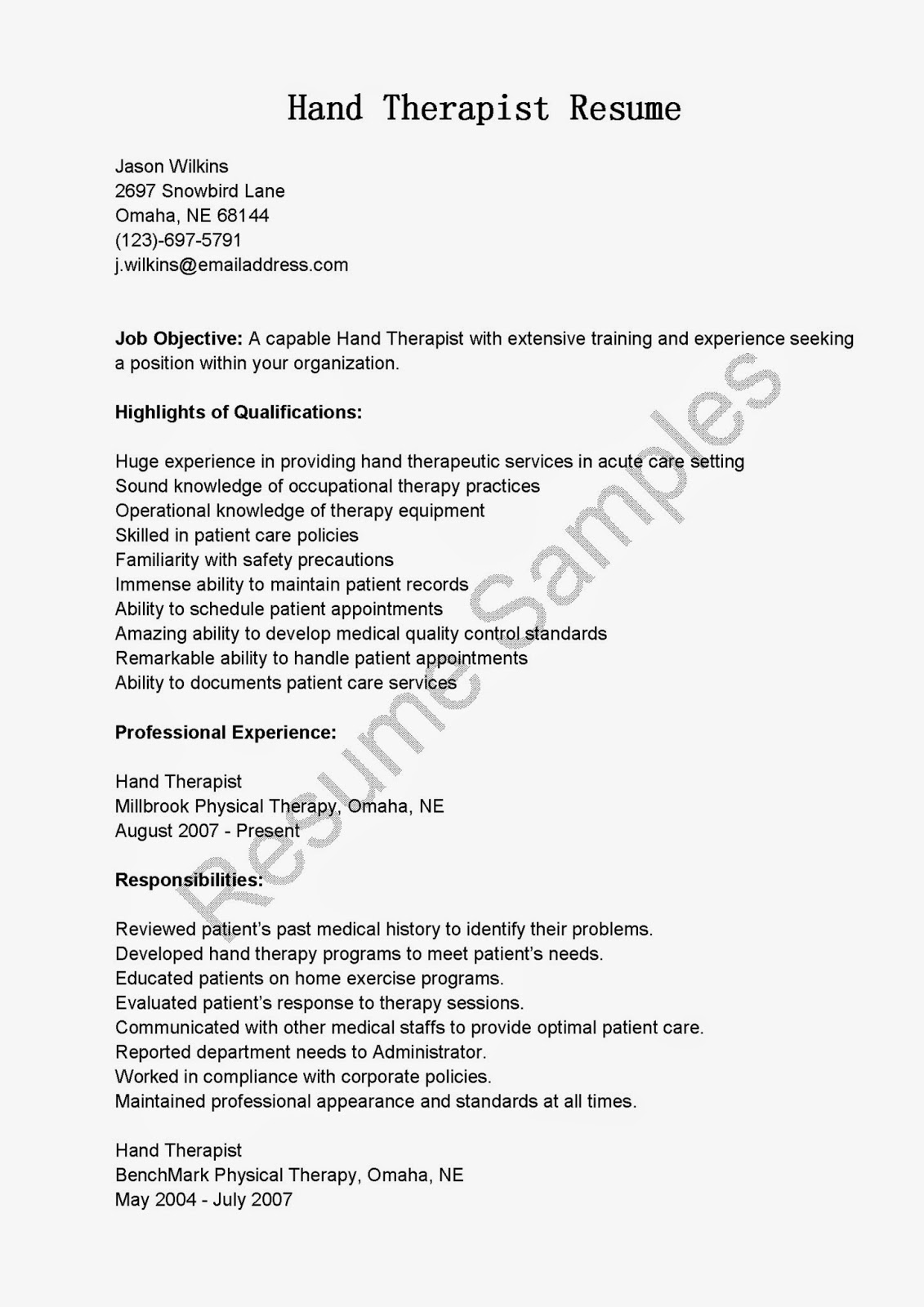 resume samples  hand therapist resume sample