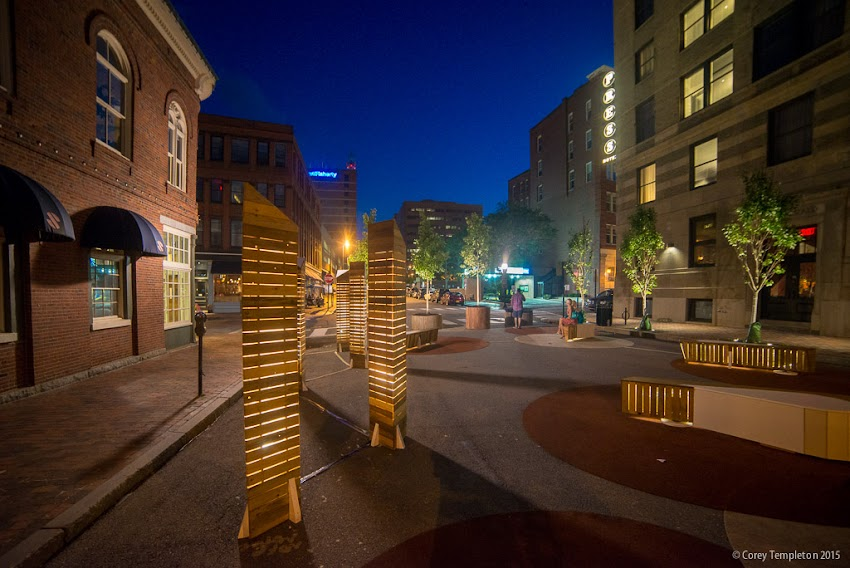 Portland, Maine USA July 2015 Federal Street Folly pop-up park between Exchange and Market Streets behind the Press Hotel at night. Photo by Corey Templeton.
