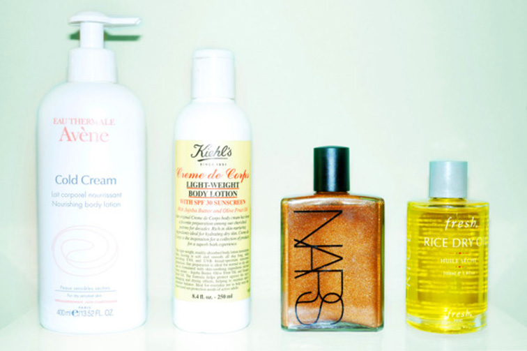 summer-lotions  Avène Cold Cream, Kiehls creme de corp light weight body lotion, NARS golden glow, Fresh rice dry oil