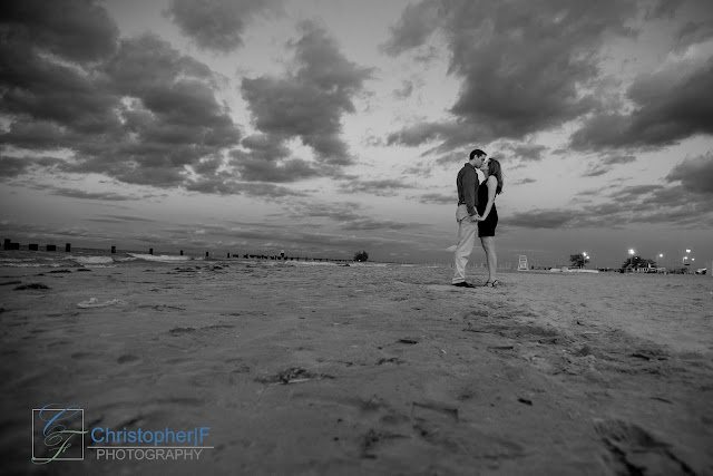 Chicago Lake Sront Sunset Engagement Photo