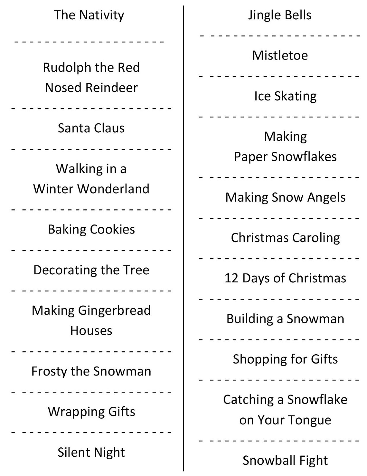Christmas Charades (free printable party game)