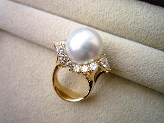リスタイル(リメイク)したゴージャスなパールダイヤモンドリング。