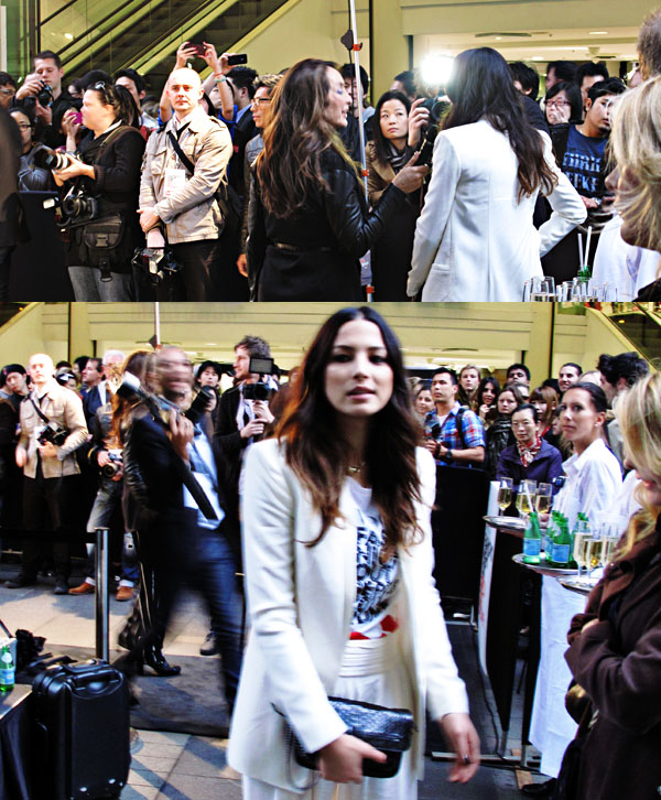 VFNO ambassador Jessica Gomes with crowds and media, Pitt Street Mall, Sydney Vogue Fashion's Night Out 2011