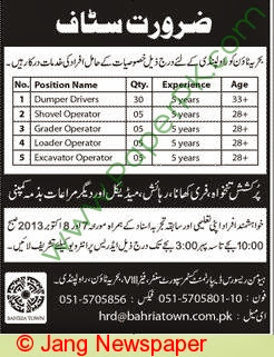 Bahria Town Jobs in Jang Newspaper,Real Estate Jobs in Pakistan,Property sector Jobs in Pakistan Rawalpindi,Bahria Town Administrative jobs in Rawal Pindi.