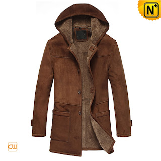Men Hooded Sheepskin Coat