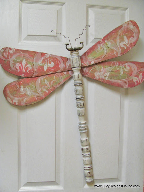 spindle dragonfly recycled art