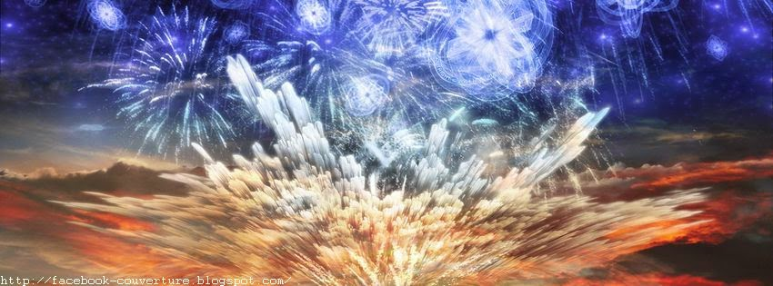 Couverture de journal facebook d'un feu d'artifice