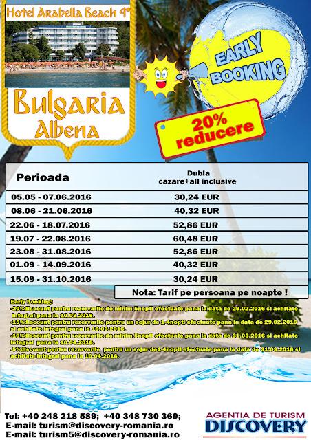 Early Booking Bulgaria statiunea Albena Hotel Arabella Beach 4* - Discovery Pitesti