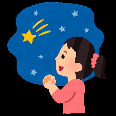 流れ星にお願いをする人のイラスト