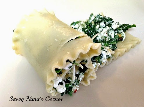Spinach & Cheese Pasta Rolls