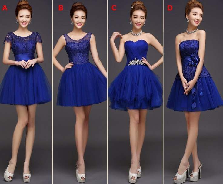 4-Design Royal Blue Fluffy Tutu Midi Bridesmaids Dress