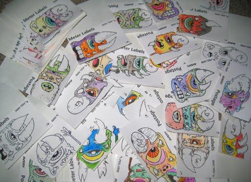 handmade reused label stickers