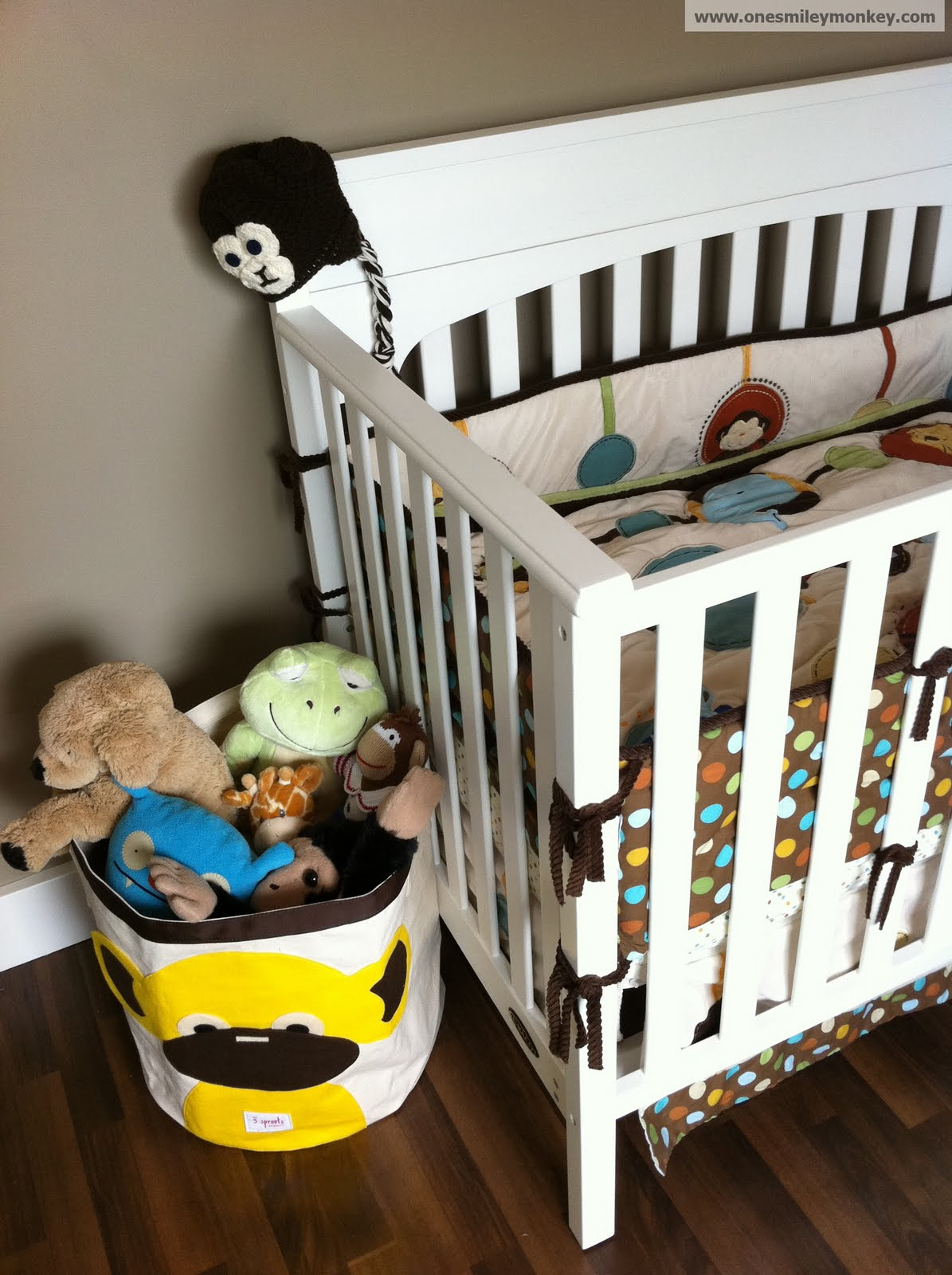 yellow monkey storage bin by  sprouts review closed giveaway - my son's toys in the  sprouts storage bin