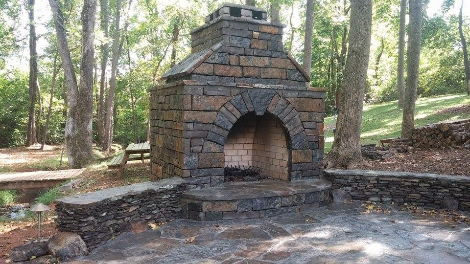 Custom built outdoor fireplace