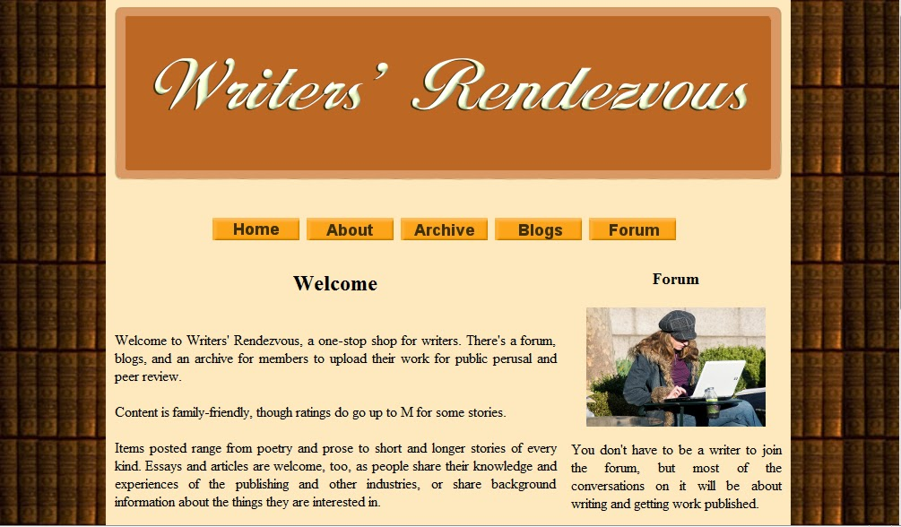 Writers' Rendezvous, an early attempt at web design screenshot