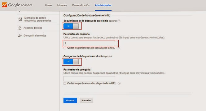 configuración de seguimiento de búsqueda