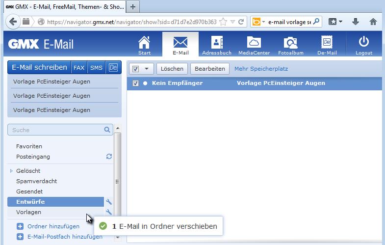 PcEinsteiger: Vorlage für E-Mail bei gmx nutzen
