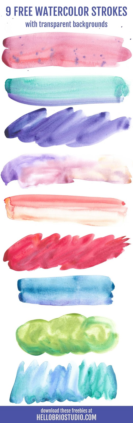 Download these hand-painted watercolor freebies at hellobriostudio.com - high resolution, transparent backgrounds