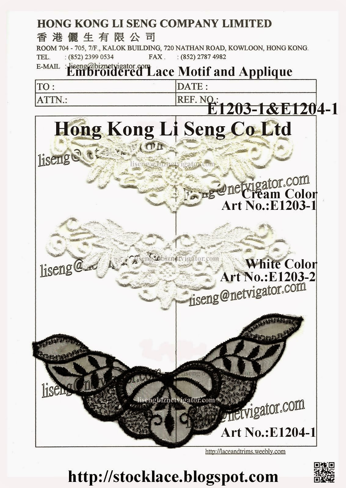 Small Order for stocklot Lace Motif and Applique Manufacturer - Hong Kong Li Seng Co Ltd