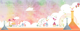 風船が浮かぶ漫画調の春の景色 Cute cartoon balloons spring banners イラスト素材