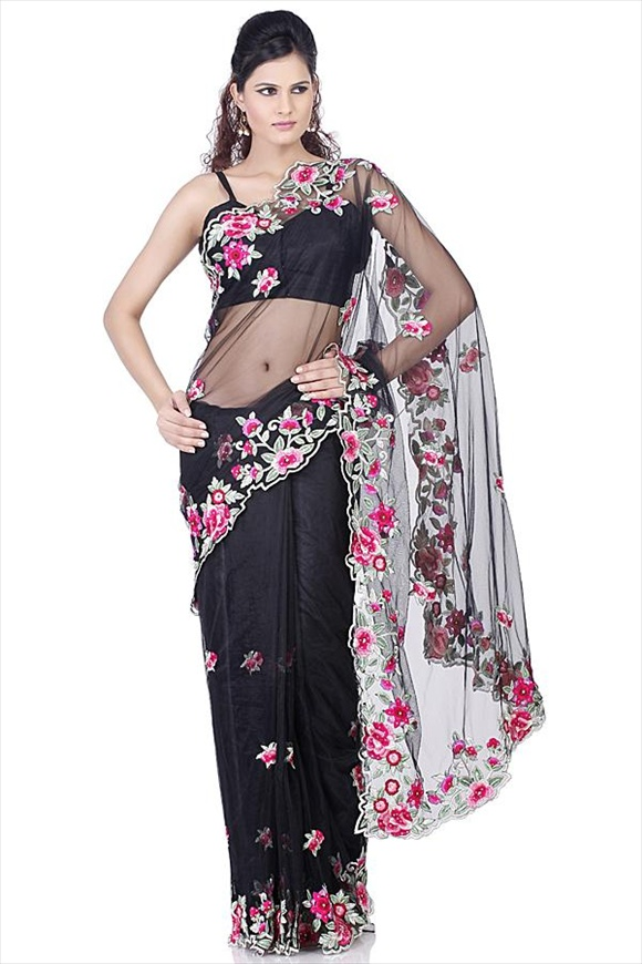girls Black Net Saree