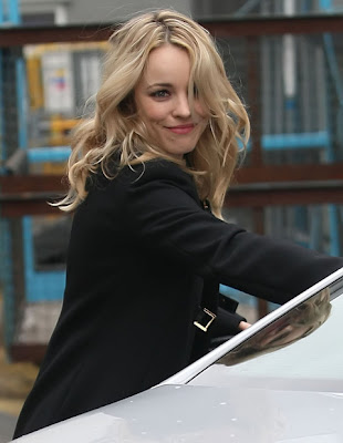 Rachel McAdams leaving BBC Radio One Studios in London