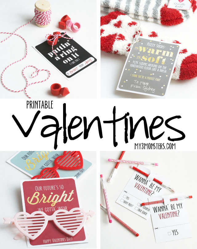 Darling Printable Valentines at my3monsters.com.  TONS of non-candy ideas with FREE printables!