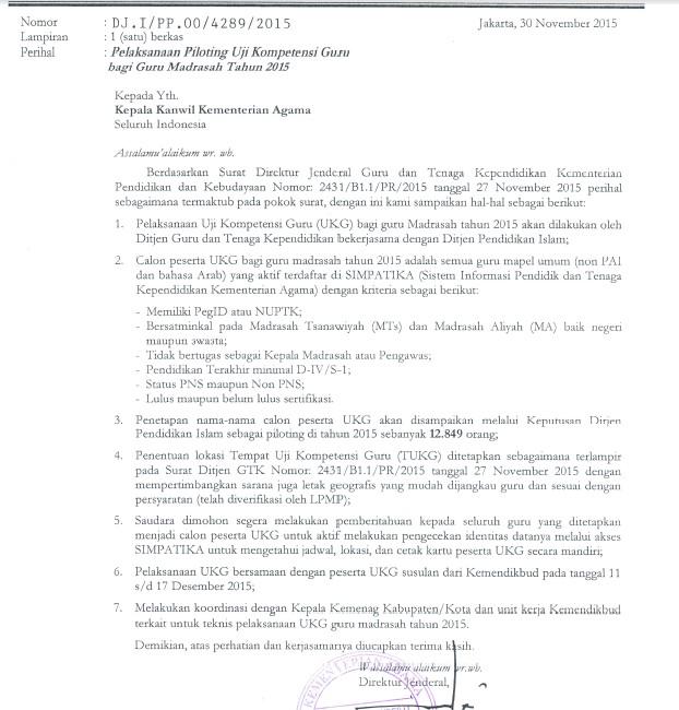 Pelaksanaan Piloting UKG Madrasah Tahun 2015