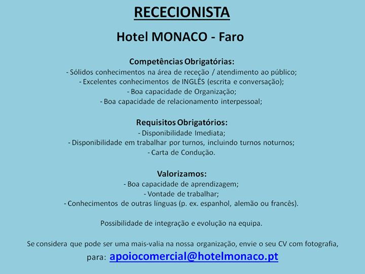 emprego rececionista de hotel - Faro