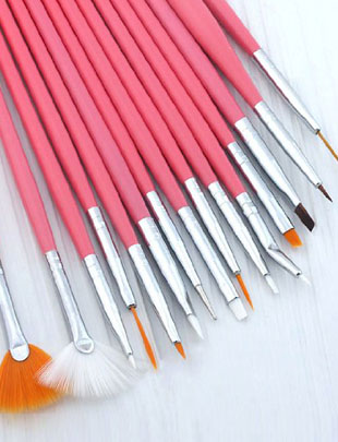 pink nail art brush set