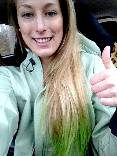 Dyed Tips Blonde Hair Green Dye Temporary