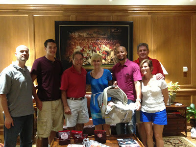 Left to right: Lance Hart (uncle/me), Derek Kief, Coach Saban, Kelly Ceasar (mom),  Zoey Ceasar (baby sister), Adrick Ceasar (dad), Pat Kief (grandpa), Chris Kief (grandma)