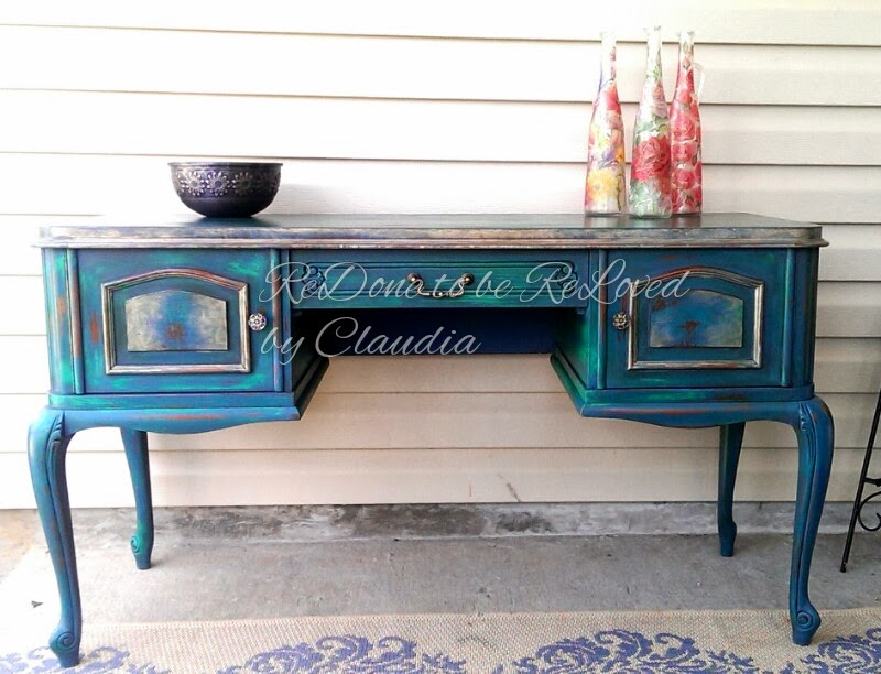 Redone To Be Reloved Peacock Green Painted Desk Aka