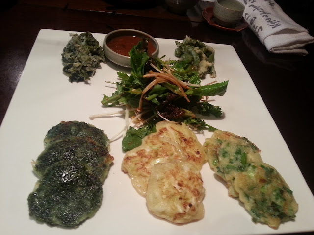 different kinds of veggie pancakes in Sanchon