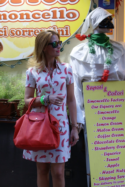Summer in Sorrento, red hot chili peppers dress, happiness dress, Longchamp bag, Fashion and Cookies, fashion blogger