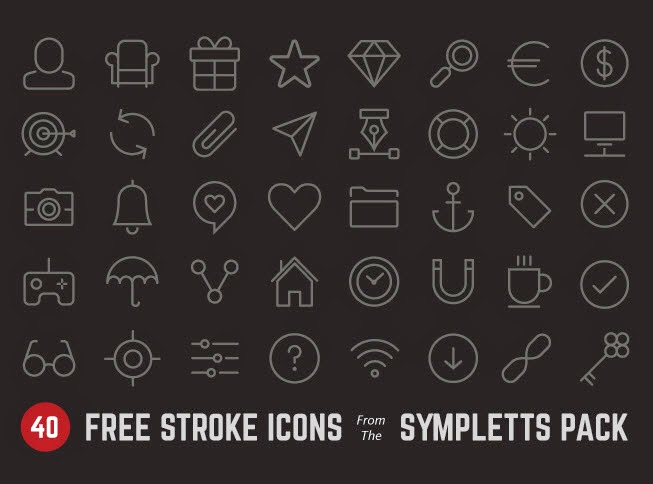 40 free stroke icons from Sympletts pack