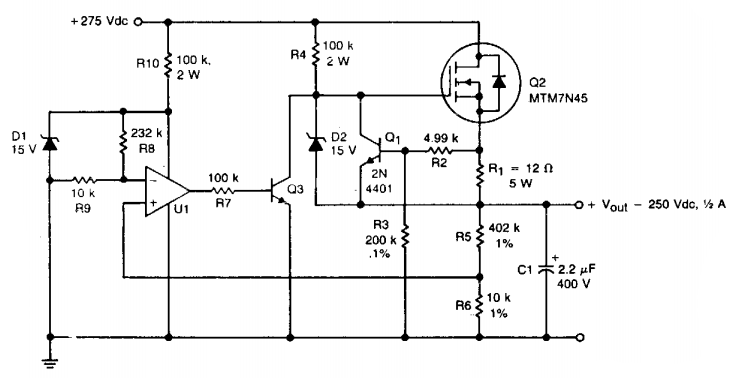 build a hv regulator with foldback current limiting circuit digram