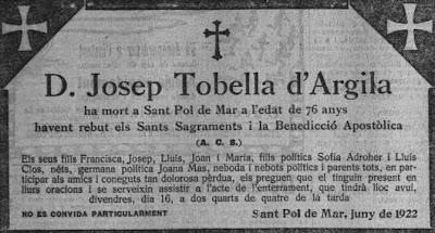 Esquela de Josep Tobella d'Argila