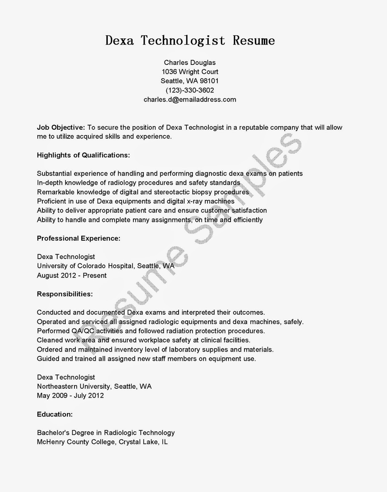 Radiology Technician Resume 27.04.2017