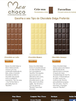 Meu Choco: Tela do site para a escolha do tipo (base) de Chocolate