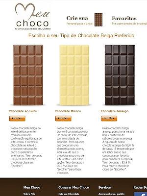 Meu Choco: Tela do site para a escolha do tipo (base) de Chocolate